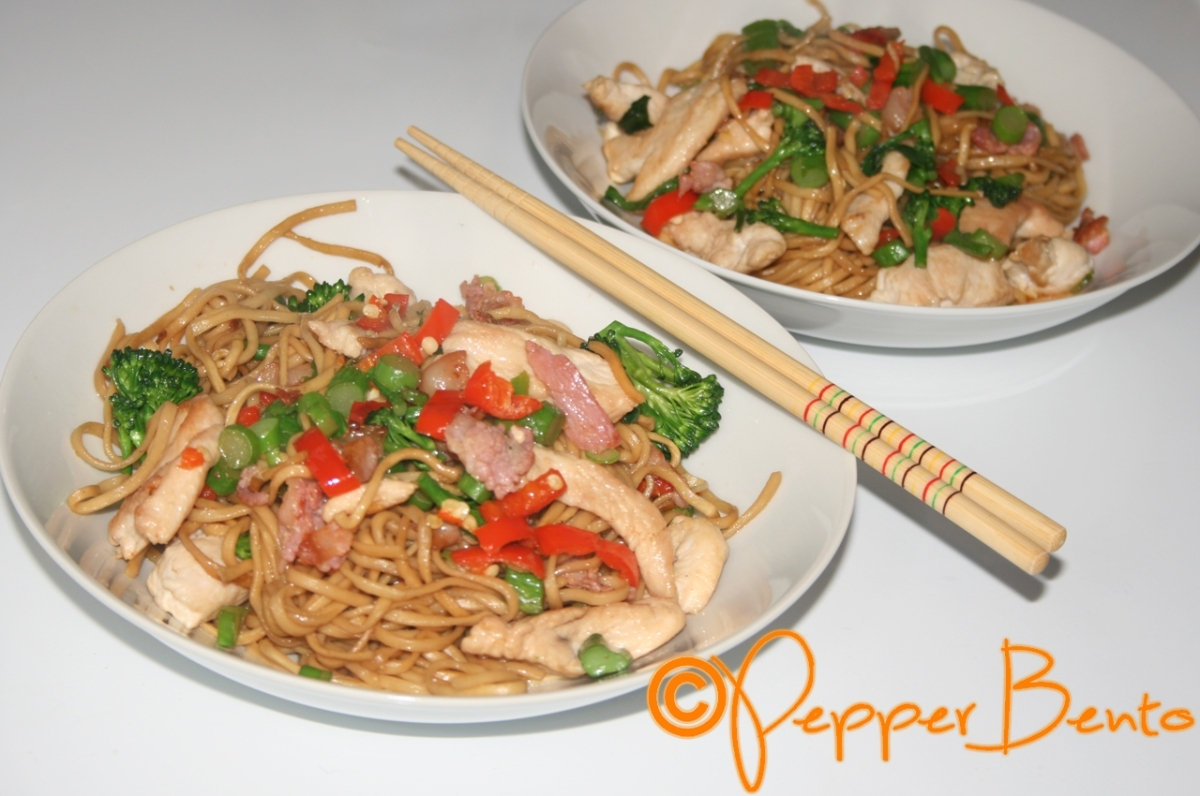 Pepper's Egg Noodle Spicy Chicken & Bacon Stir Fry Recipe!