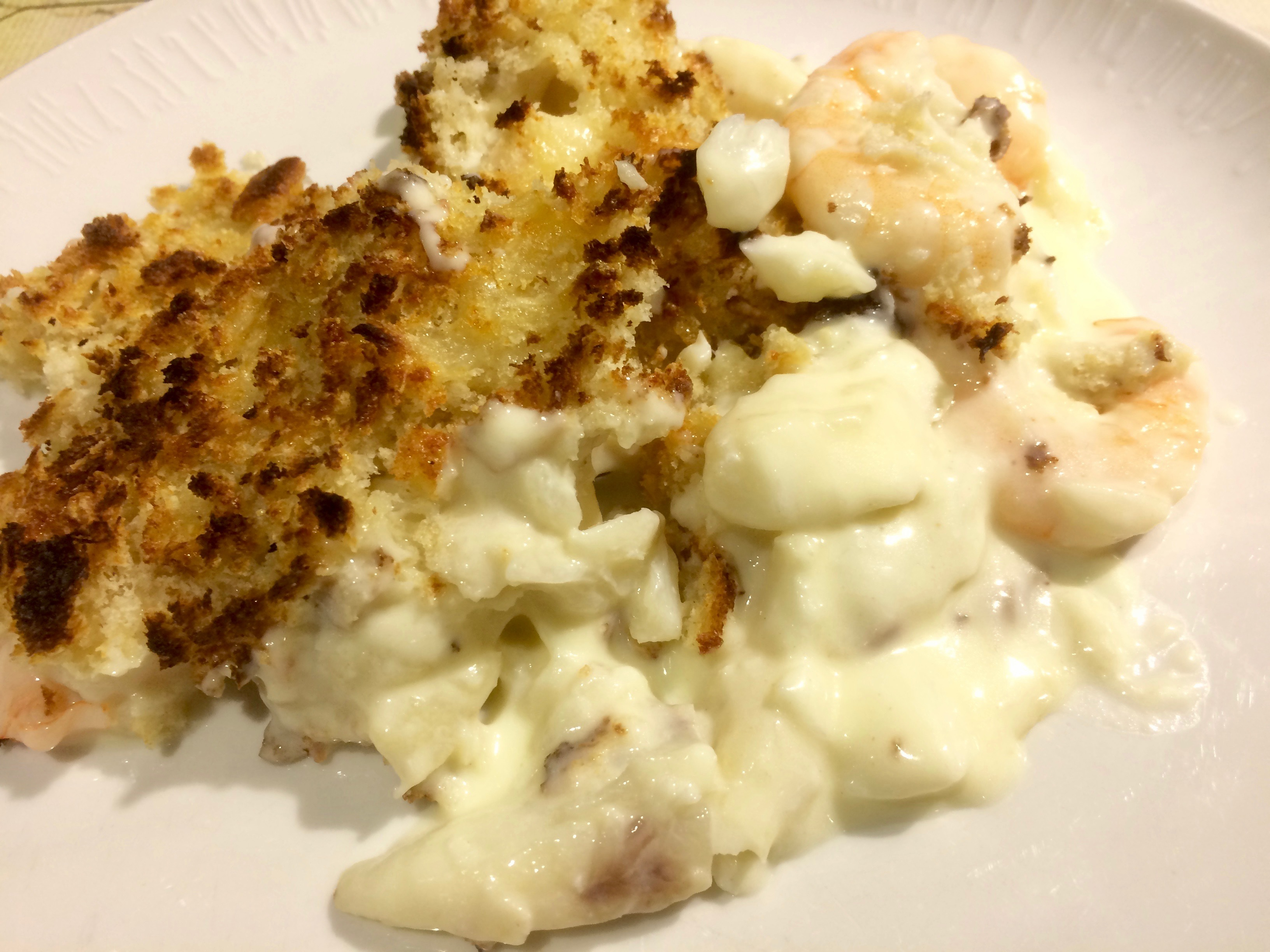 Haddock and prawn gratin