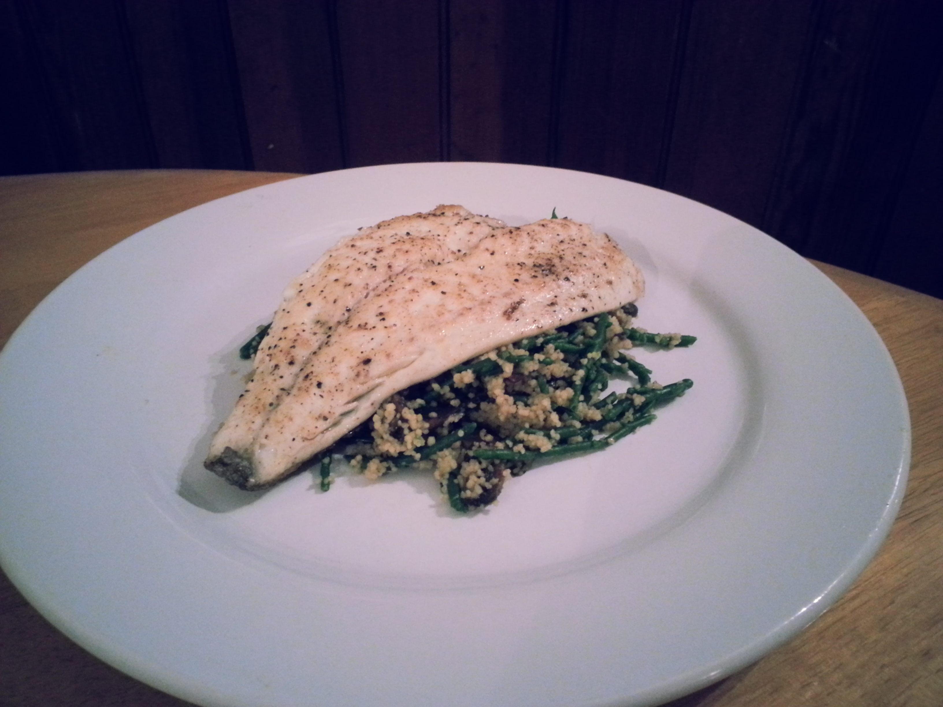 Sea Bream with Mushroom and Samphire Couscous