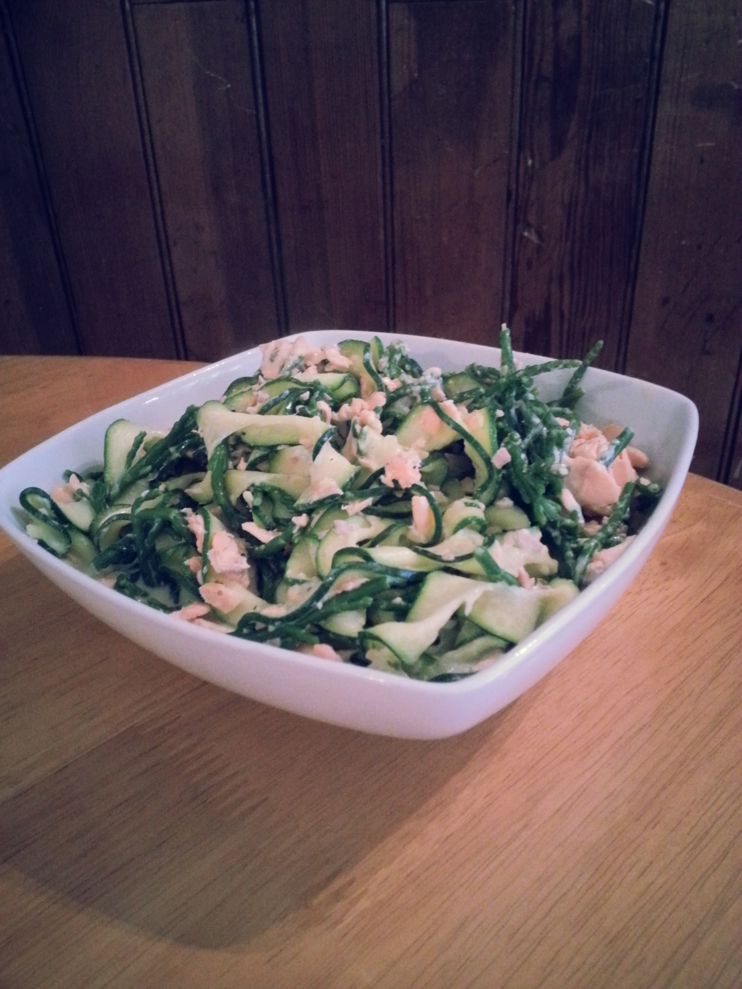 Rainbow Trout with Samphire and Courgette Pasta in Garlic and Herb Sauce