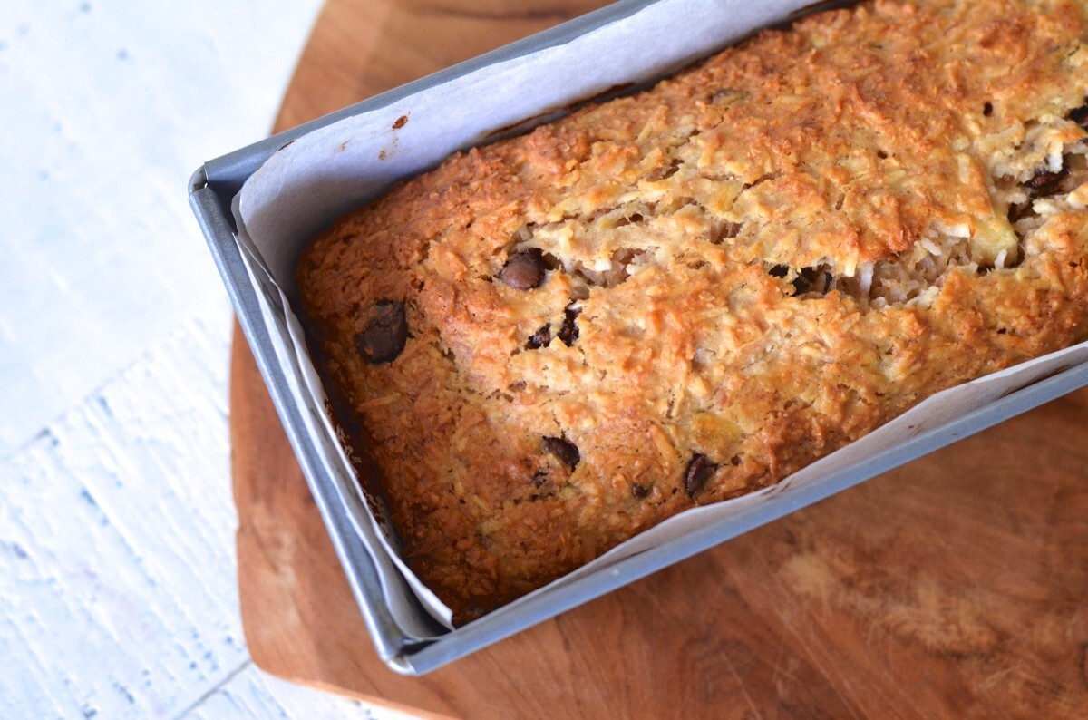 Leaning into Home / Banana, Coconut & Chocolate Loaf Cake