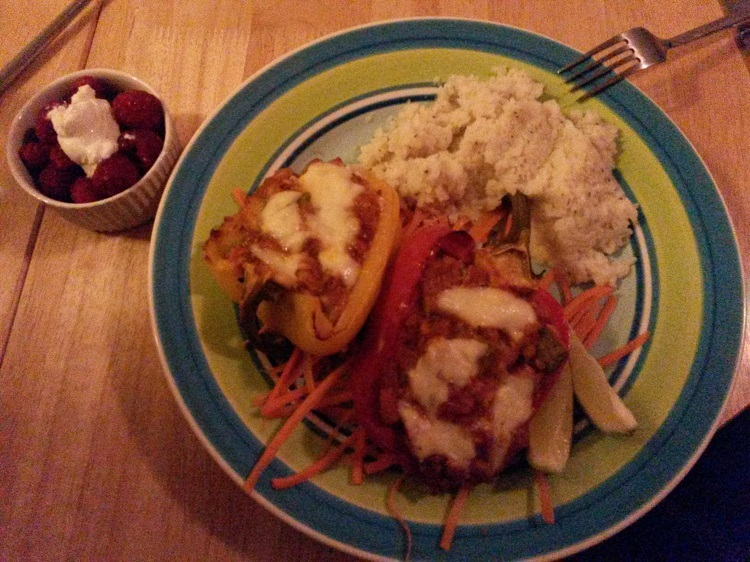 Chicken and bean stuffed peppers with cauliflower mash