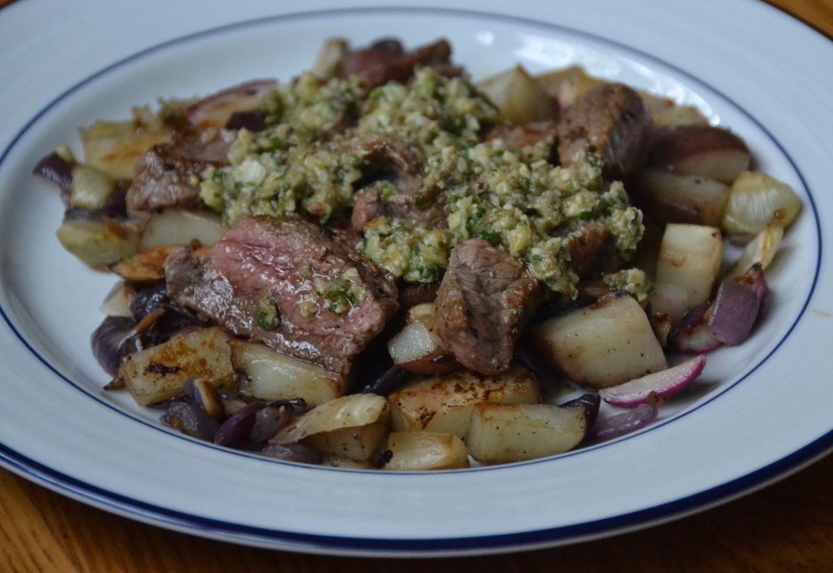 Sirloin Steak with New Potatoes and Chimichurri Sauce