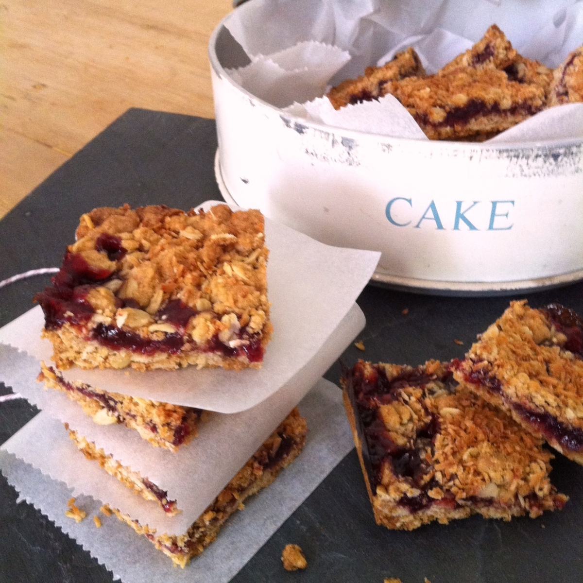 Sour Cherry, Coconut and Oat Slice