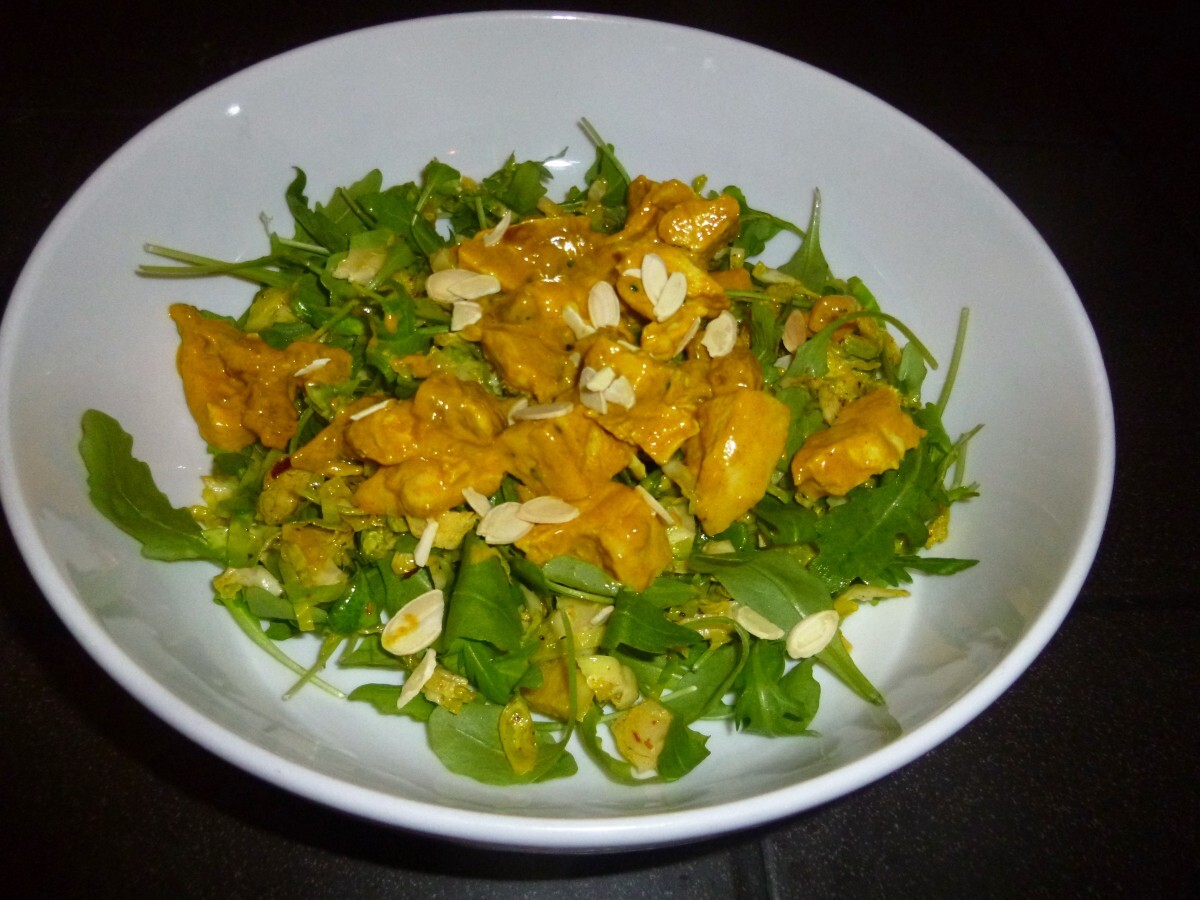 Skinny Coronation Chicken on a Brussel Sprout and Rocket Salad Recipe