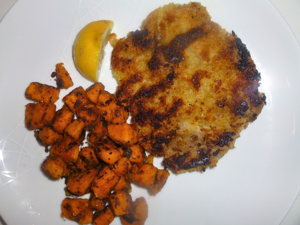 Healthy Veal Schnitzels with Sautéed Garam Masala Sweet Potatoes Recipe