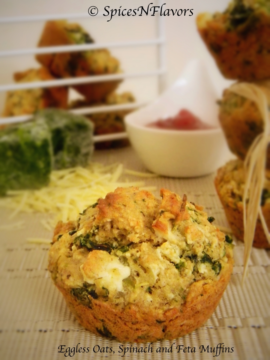 Eggless Oats, Spinach and Feta Muffins