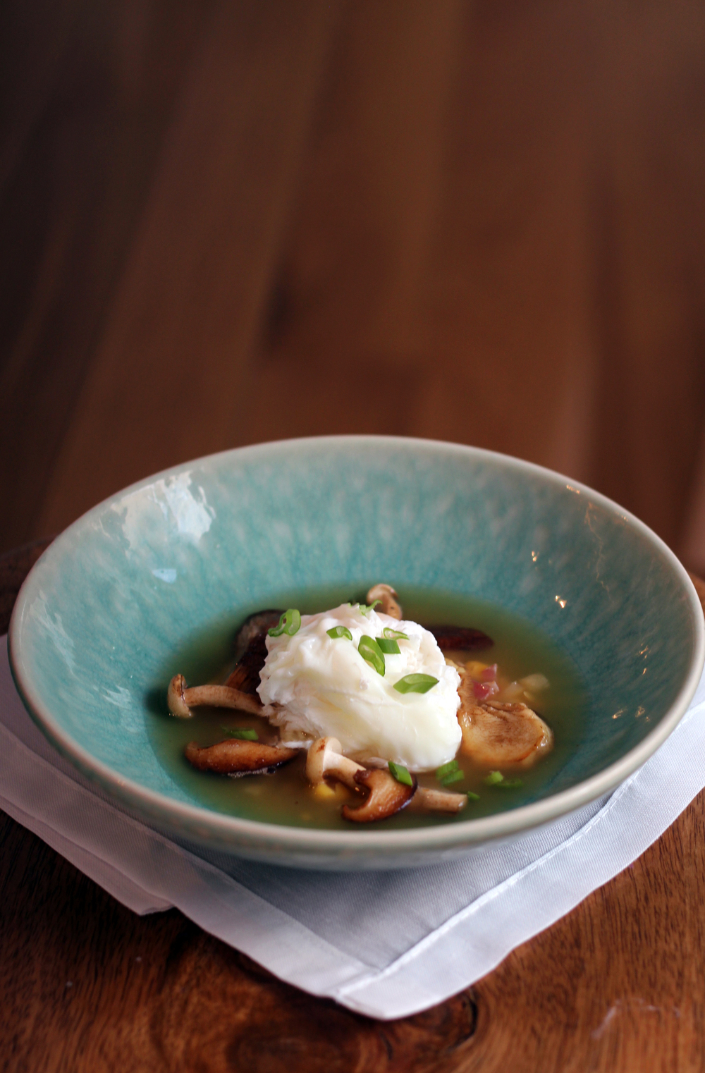 Chicken Broth with Creamed Corn, Pancetta, Wild Mushrooms & Poached Egg