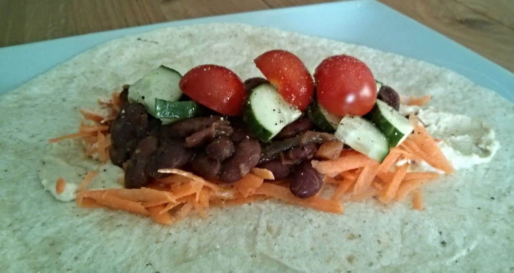 Recipe: Curried Kidney Beans in a wrap