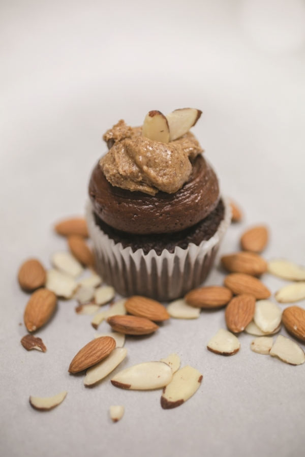 Chocolate Almond Cupcakes with Dark Chocolate and Almond Butter Frosting