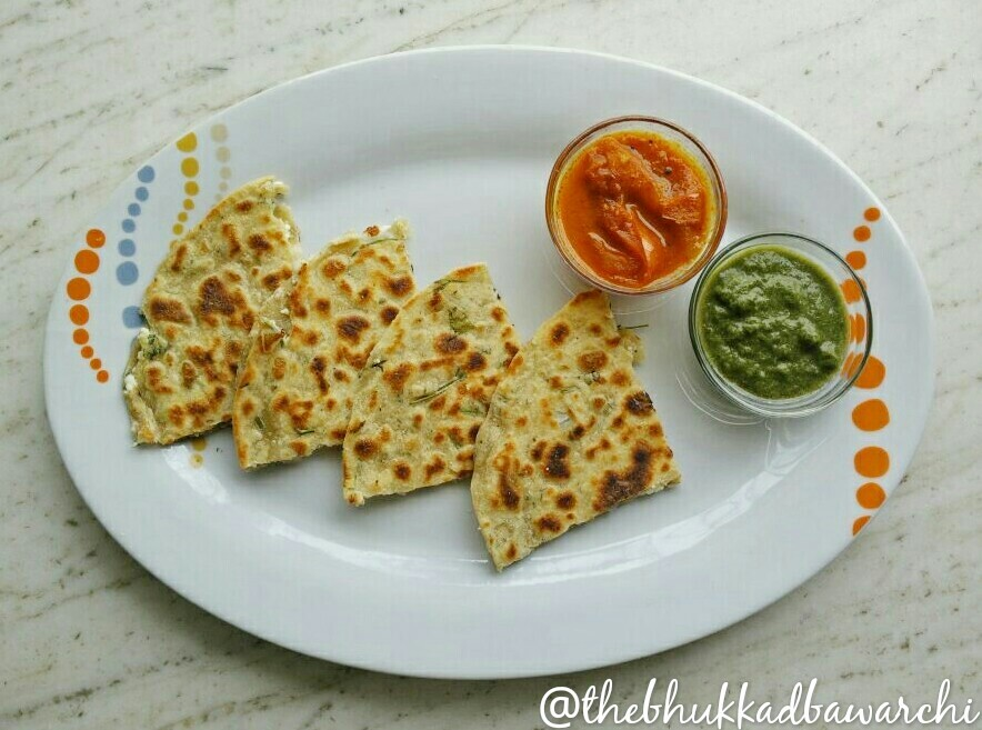Onion and Cheese Parantha with Tangy Tomato Veggie