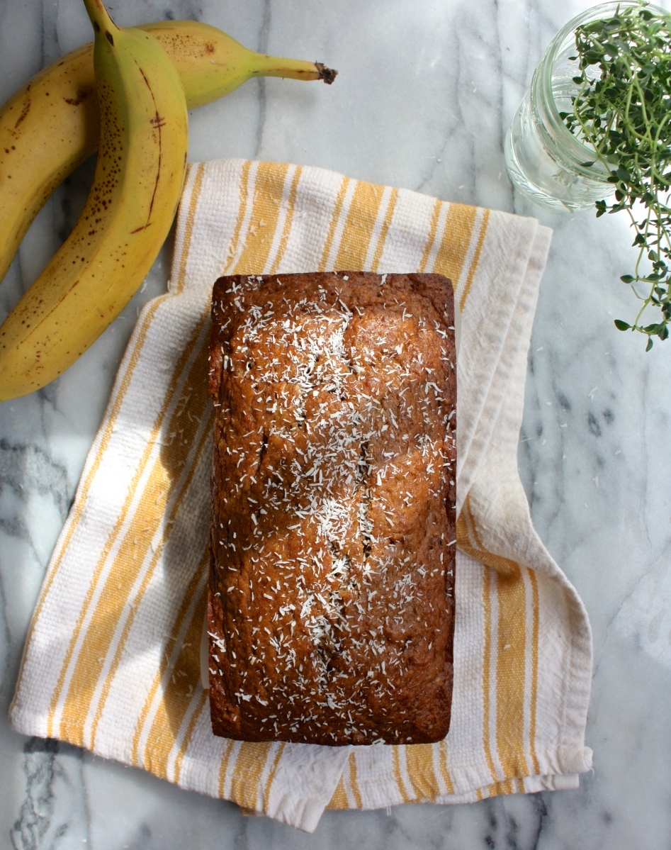 Browned Butter & Whiskey Banana Bread with Coconut
