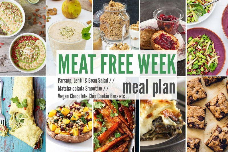 Meat Free Week Meal Planner: Parsnip, Lentil & Bean Salad, Matcha-colada Smoothie + Vegan Chocolate Chip Cookie Bars