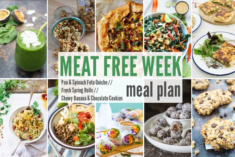 Meat Free Meal Planner: Pea & Spinach Feta Quiche, Fresh Spring Rolls + Chewy Banana & Chocolate Cookies