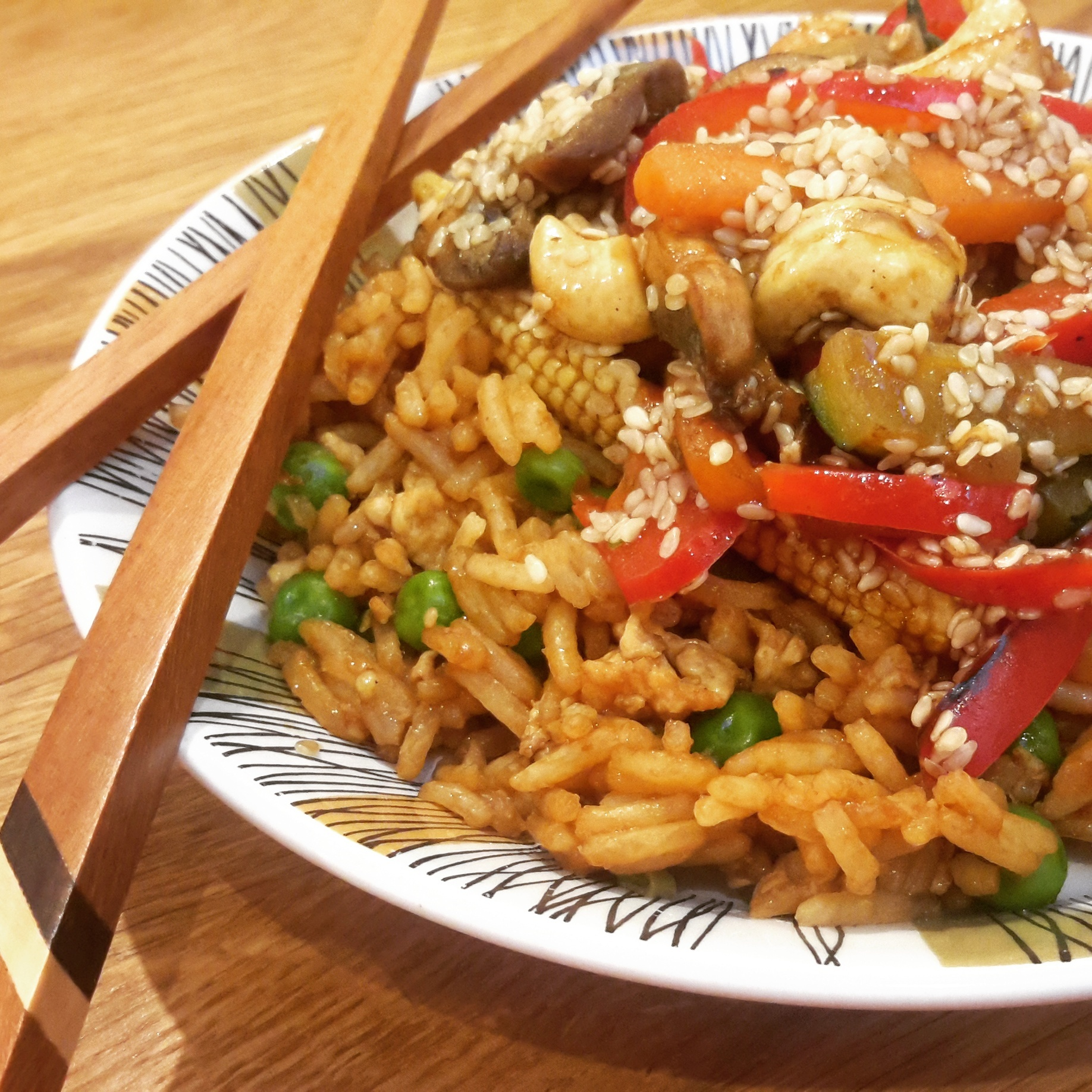 Cashew & sesame stir fry with egg fried rice