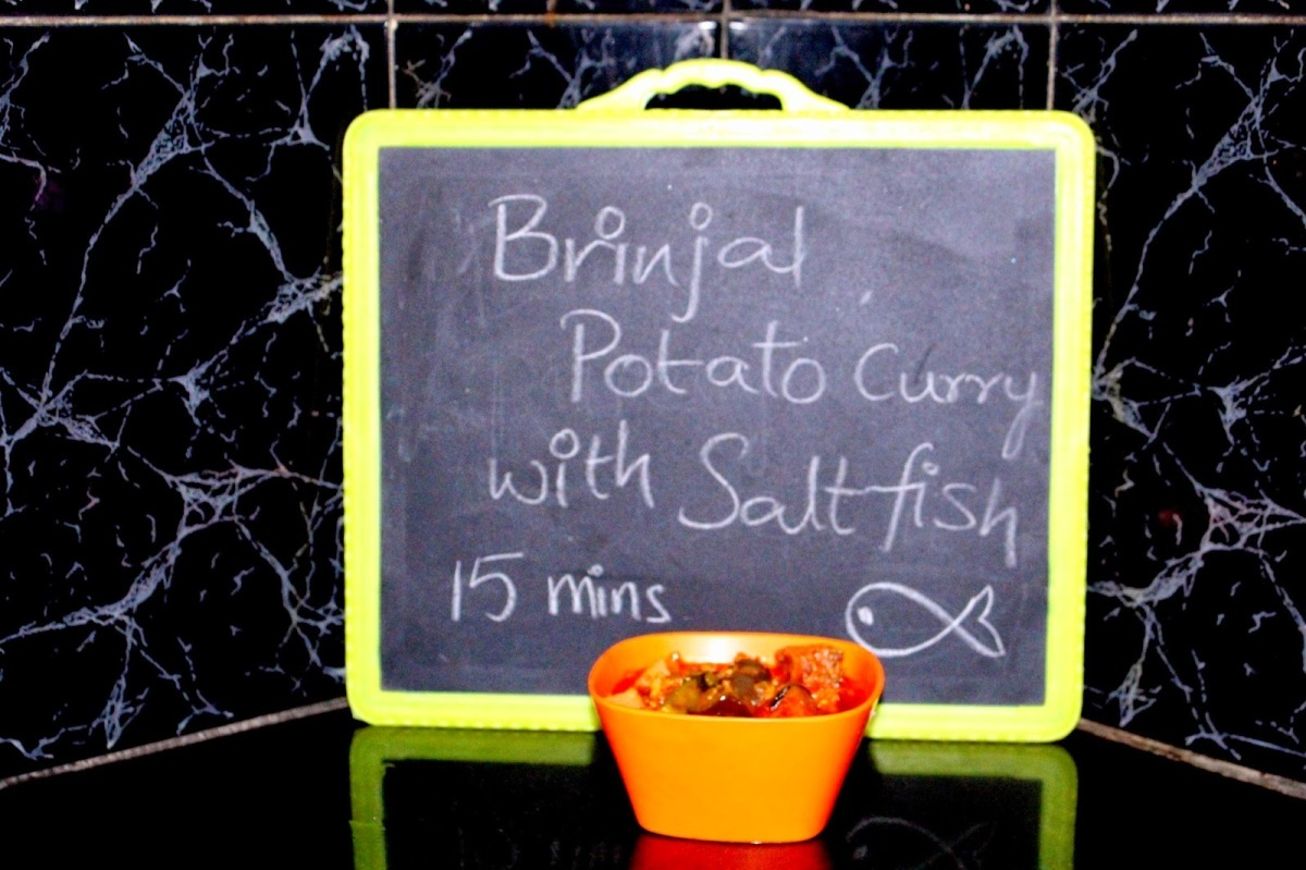 Brinjal and Potato curry recipe with Salt fish