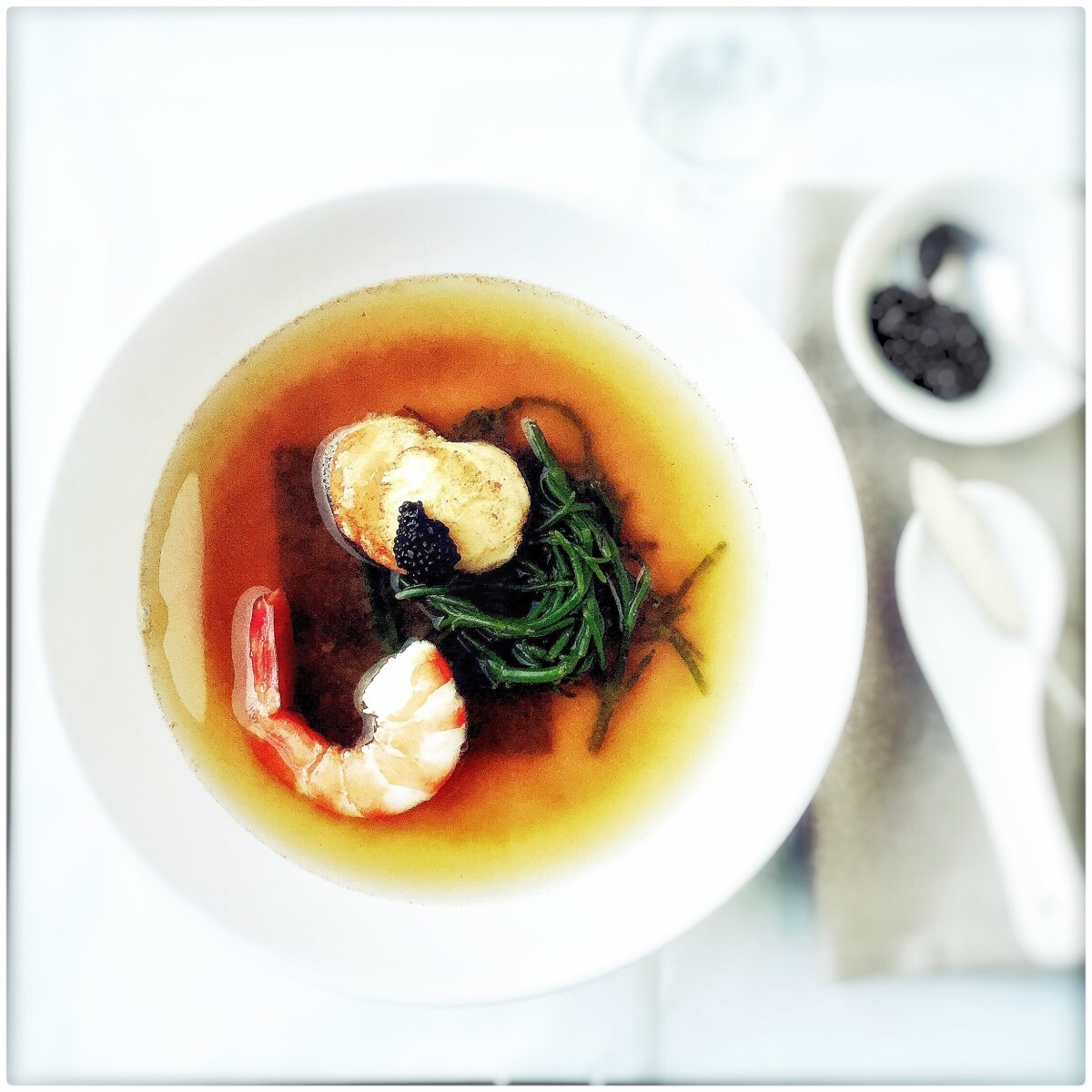 Miso soup with prawn, scallop and samphire