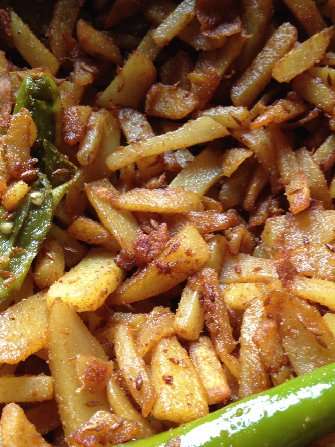 Slow Cooked Jeera Aalu/potato stir fry