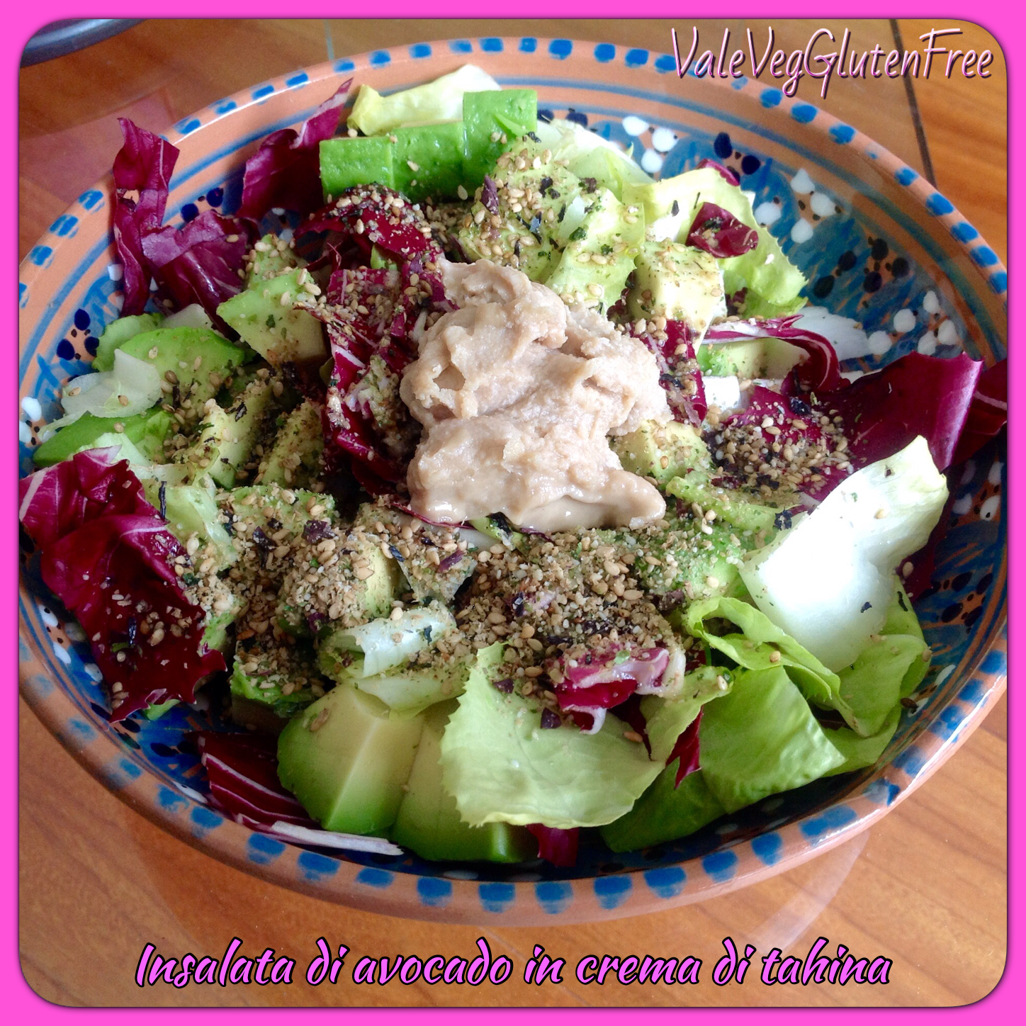 Avocado salad with tahini mayo / Insalata di avocado con maionese di tahina