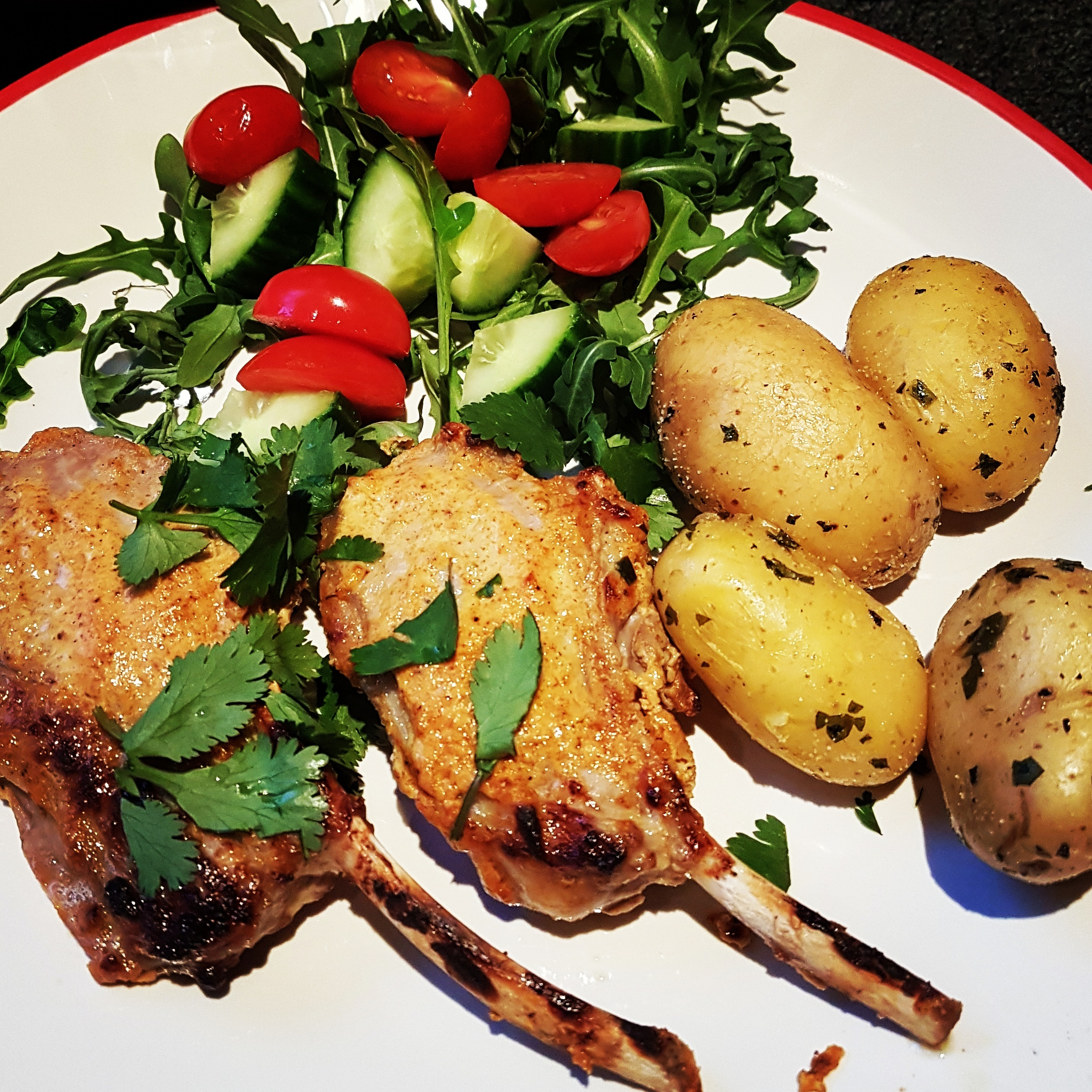 Things I have been cooking lately #153: Spiced lamb cutlets with salad and new potatoes