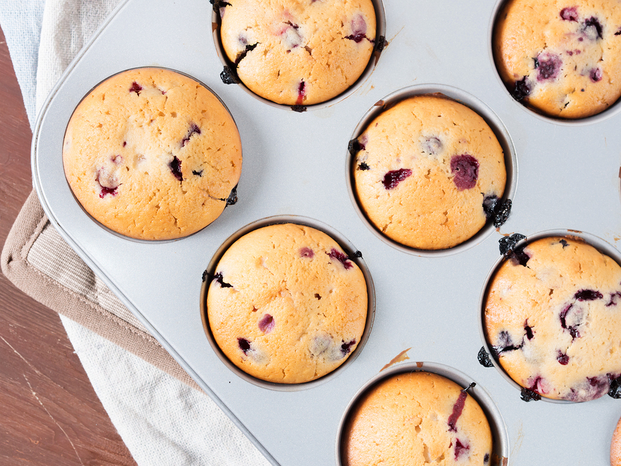 Super Simple Flourless Mixed Berry Muffins