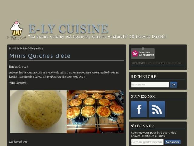 """E-Ly cuisine - """"La bonne cuisine est honnête, sincère et simple"""" (Elisabeth David)"""
