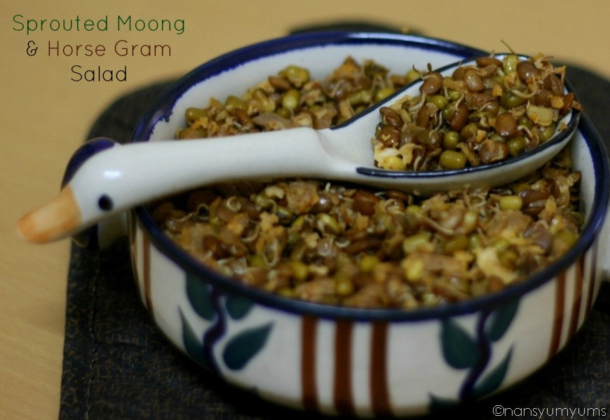 Sprouted Moong and Horse Gram Salad