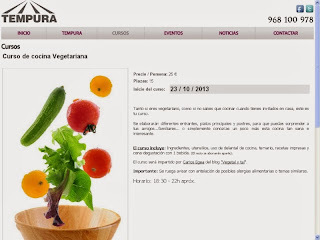 Curso de cocina vegetariana en Tempura