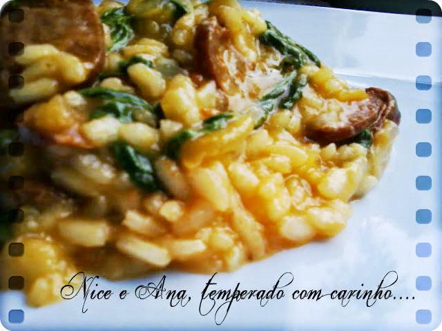 Risoto de Linguiça, Tomate e Rúcula