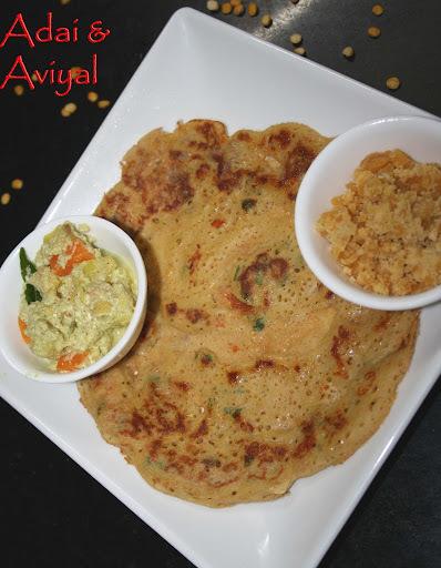 Adai (Rice n lentil Pancake) n Aviyal