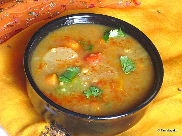 Pappu Pulusu ~ Mixed Vegetables in Lentil And Tamarind Gravy