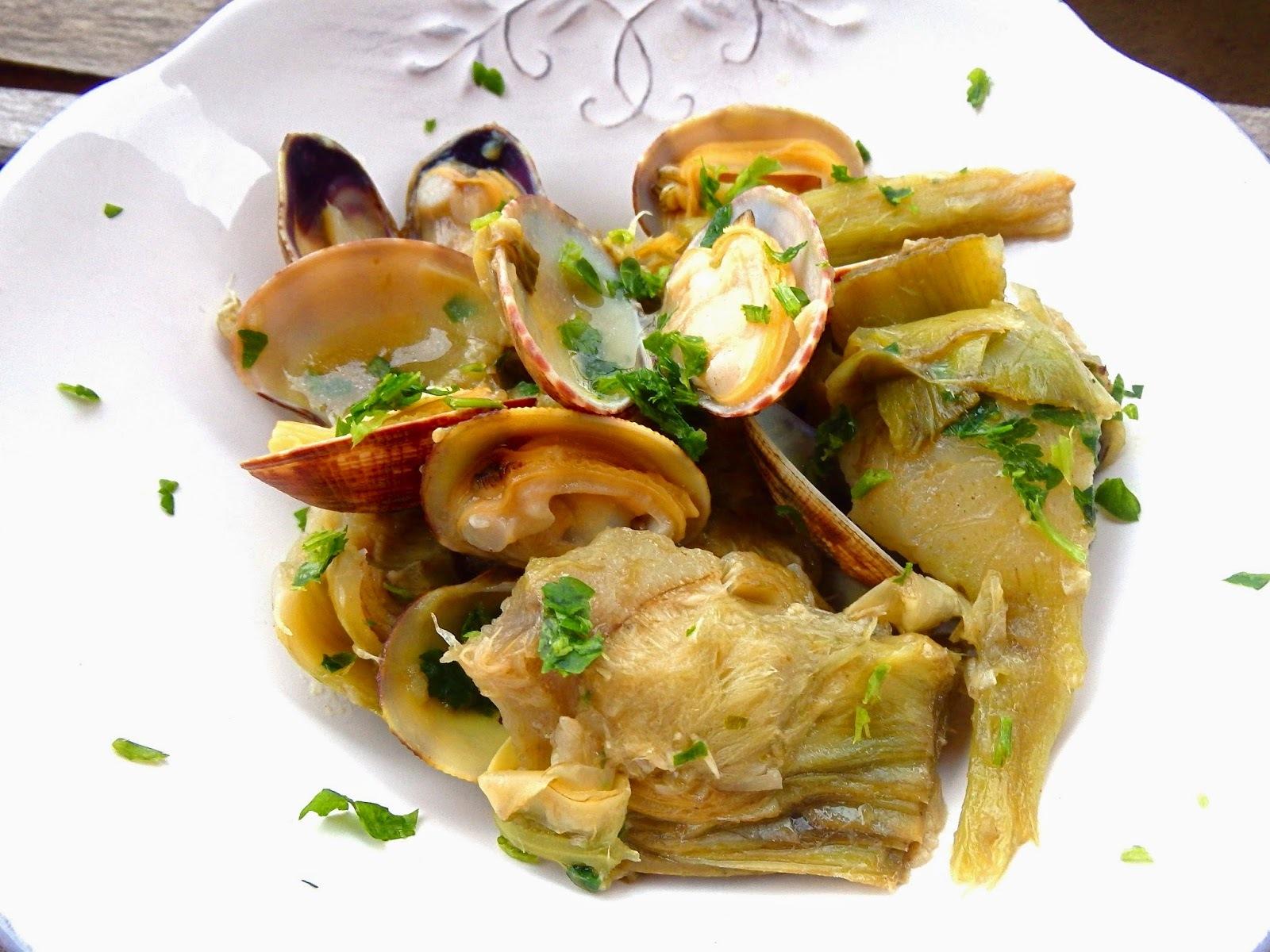 Alcachofas con almejas, receta light - Carxofes amb cloïsses, recepta light