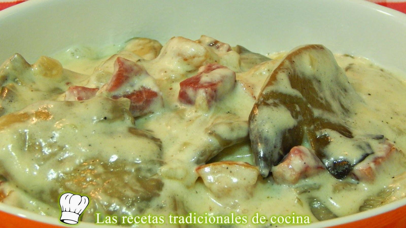Receta de setas a la crema con beicon