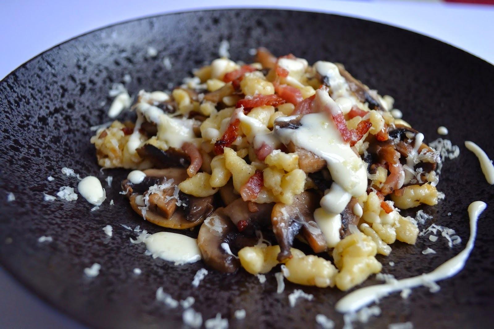 Spaëtzle lardons champignons à la crème de comté