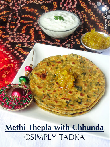 Methi Thepla with Mango Chhunda