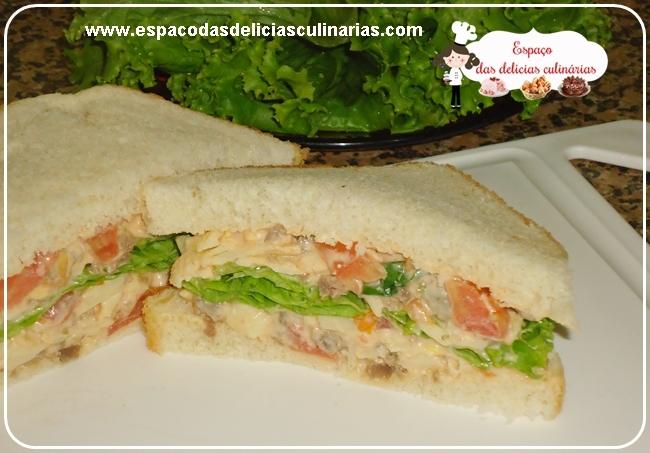 Sanduíche de carne com maionese, requeijão e queijo