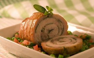 Lombo de porco assado com vinagrete de vagem