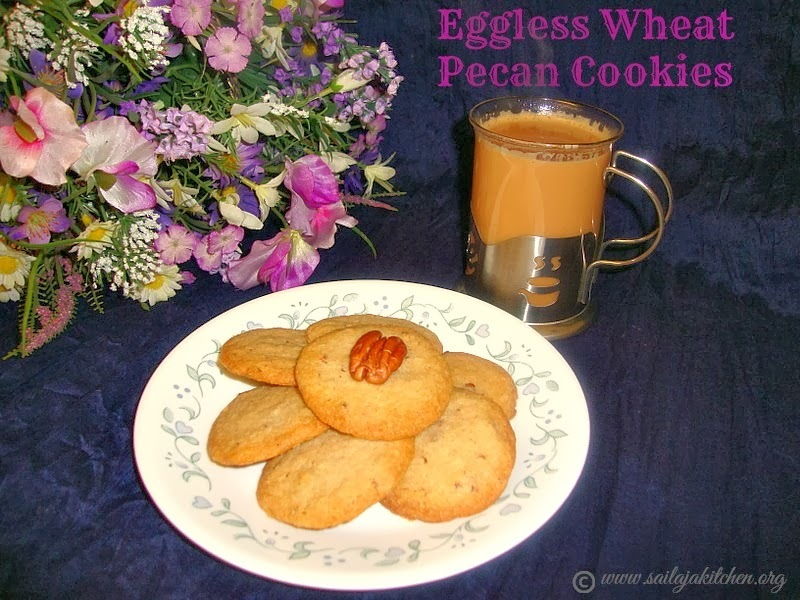 Eggless Wheat Pecan Cookies / Whole Wheat Pecan Cookie / Wheat Pecan Cookies / Eggless Cookie Recipe