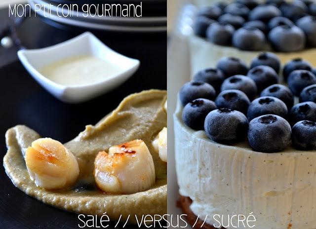 Noix de Saint Jacques sur caviar d'aubergines sauce vanille // Versus // Cheesecake à la vanille et aux myrtilles... pour la Foodista #11