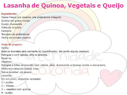 Lasanha de Quinoa, Brócolis e Queijo {Culinária para Crianças}