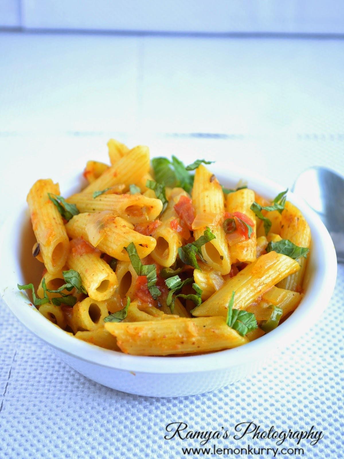 masala pasta recipe - indian style - pasta recipes