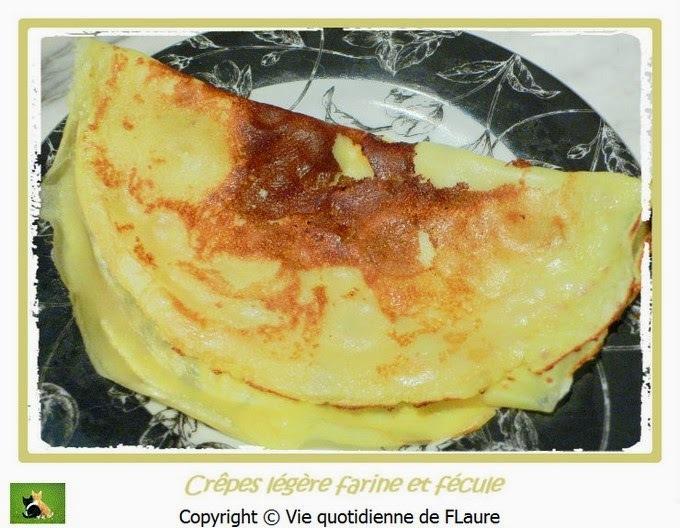 Pâte et crêpes allégées, à la farine et fécule