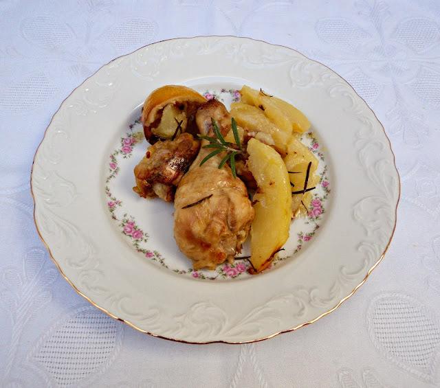 Pollo asado en horno al limón