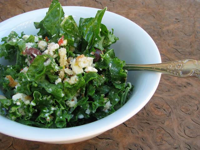 raw kale salad with garlic feta dressing recipe