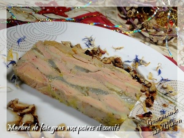 Marbré de foie gras de canard aux poires et au comté