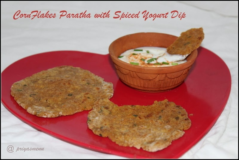 Cornflakes Paratha with Spiced Yogurt Dip