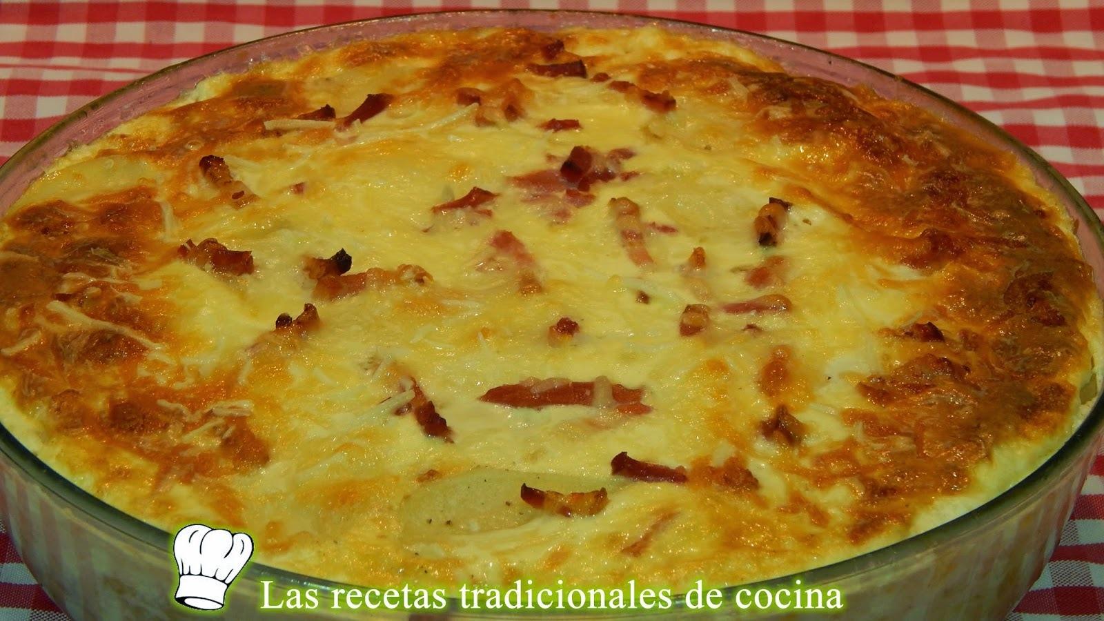 Receta de pastel de patatas beicon y queso