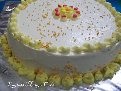 Eggless Mango Cake With Mango Frosting
