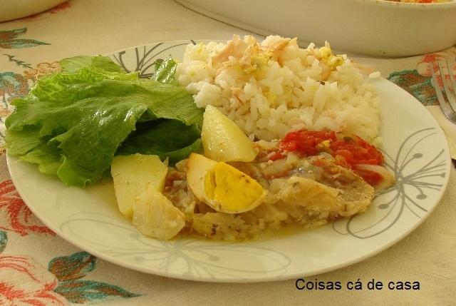 cozido file de merluza com batata