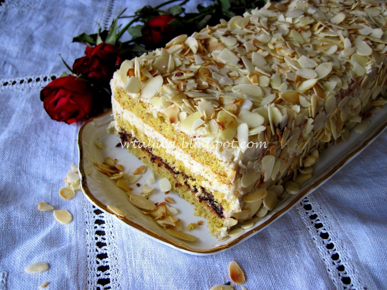 osvježavajuća torta od badema, rođendani i jedan giveaway